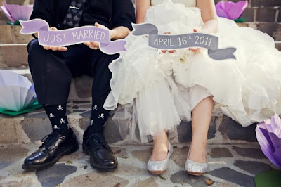 Cute and whimsical banner wedding signs!