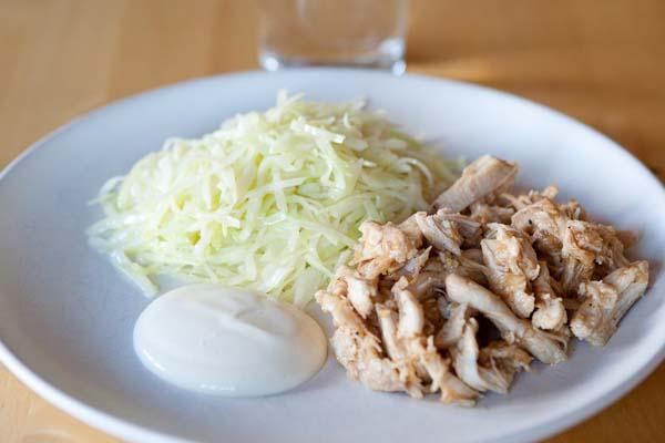 stekt vitkål med kyckling