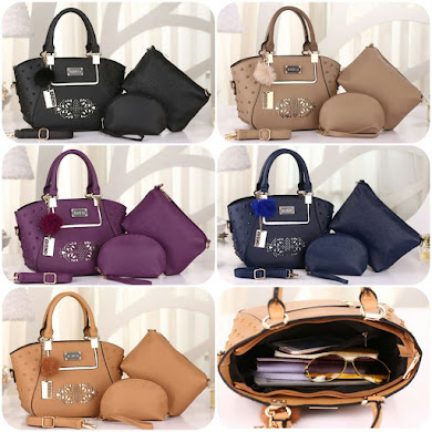 BONIA BAG ( 3 IN 1 SET ) - APRICOT , BLACK , KHAKI , NAVY BLUE , PURPLE