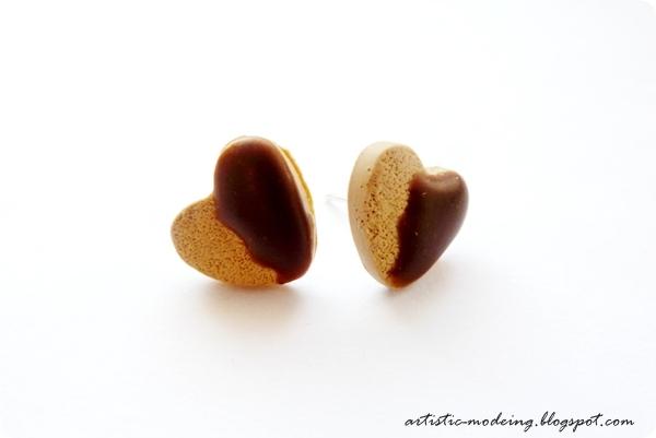 Kolczyki sztyfty – ciasteczka z czekoladą.