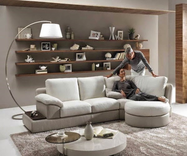 small living room design ideas white sofa floating shelf and nice lamp