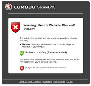 Unsafe Website Blocked Malware