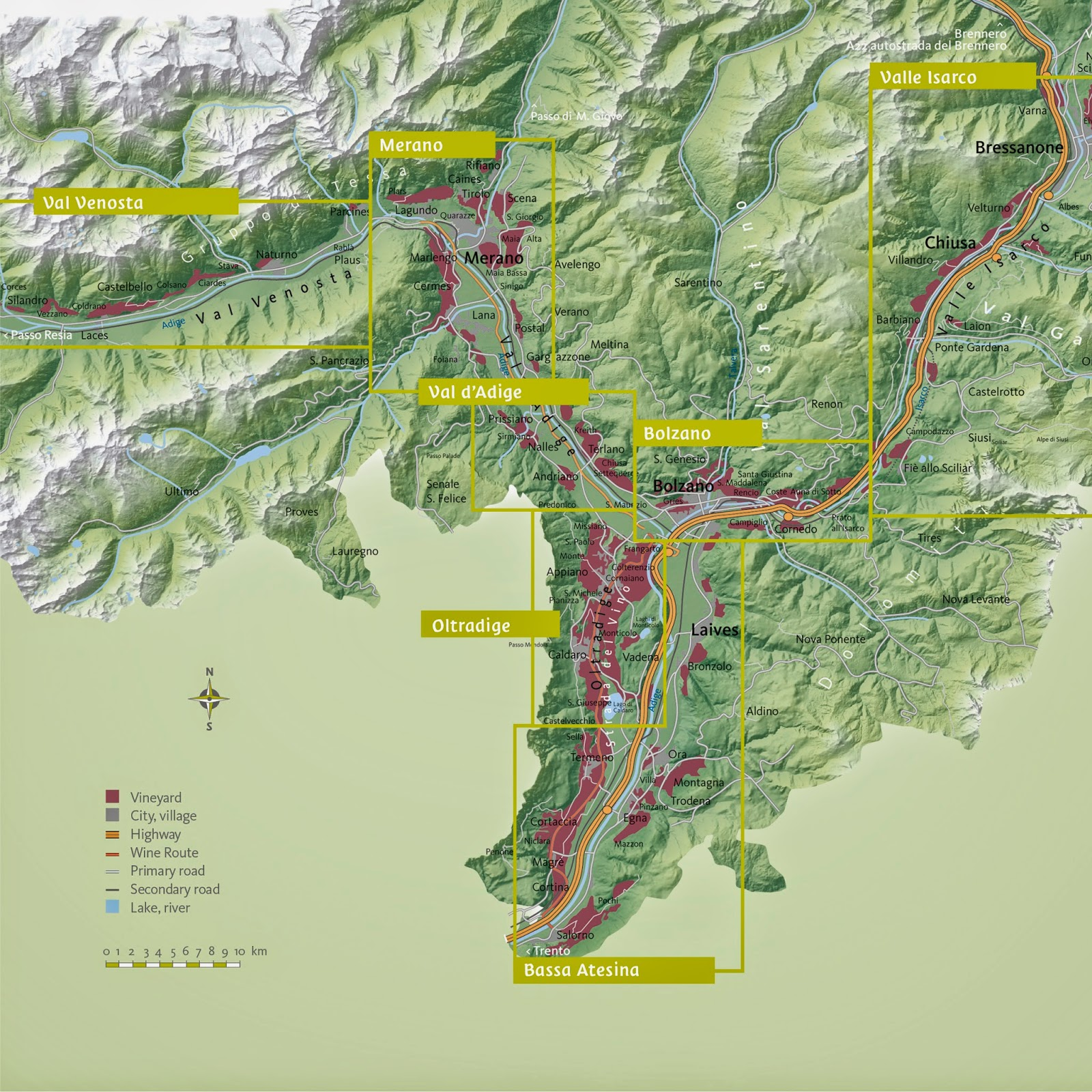 Wine map of the Alto Adige region from the Consorzio