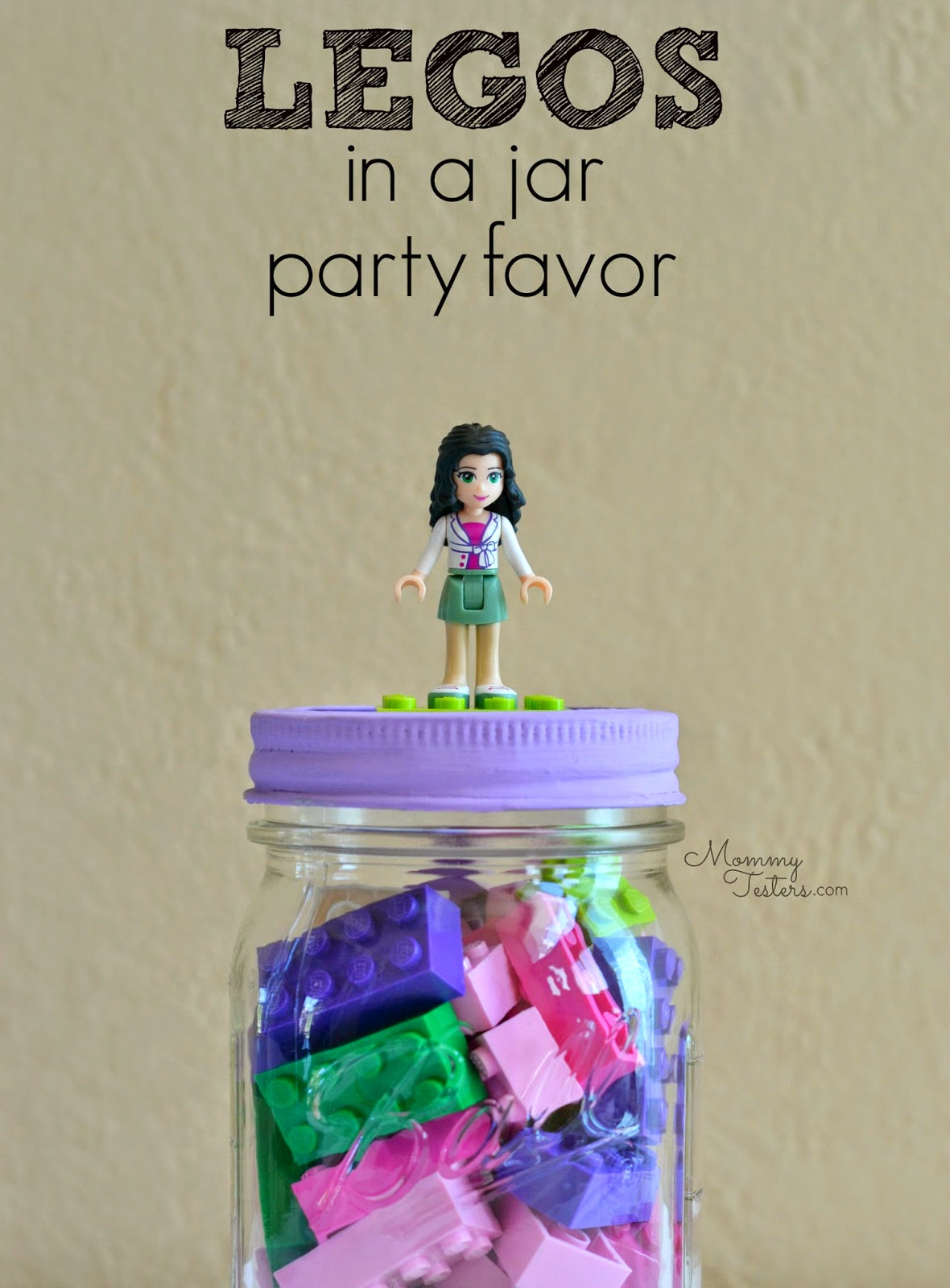 Mommy Testers, LEGO party favor, LEGOS in a jar, LEGO birthday party, LEGO party, LEGO Friends party