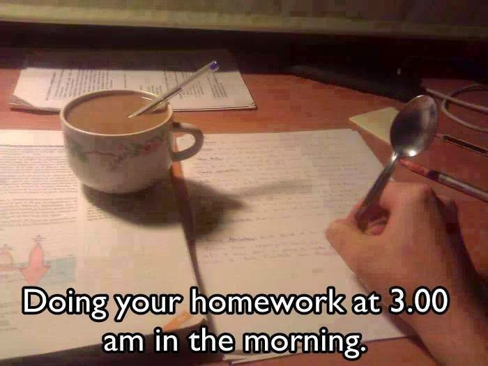 I do my homework in the morning