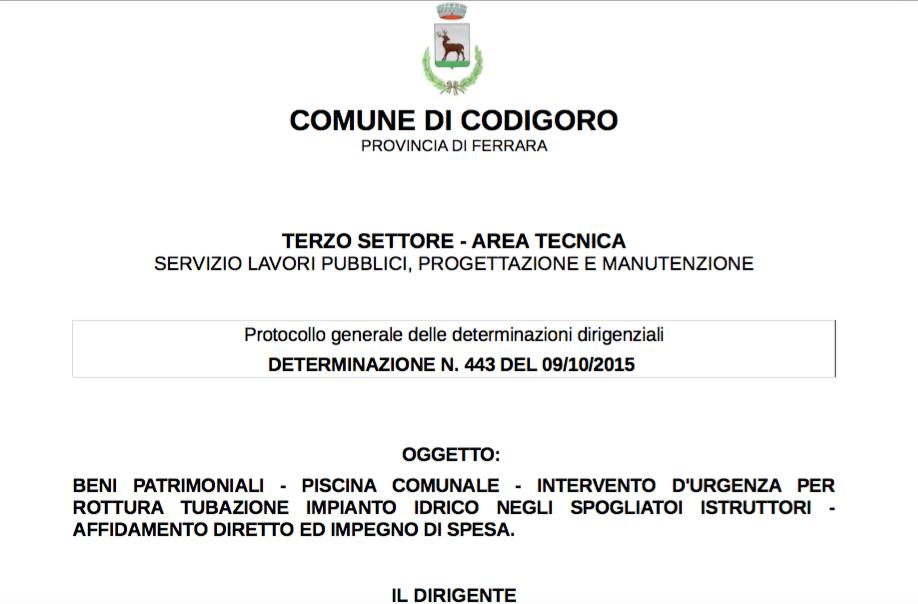 Codigoro in movimento ultime news dall 39 albo pretorio - Piscina di codigoro ...