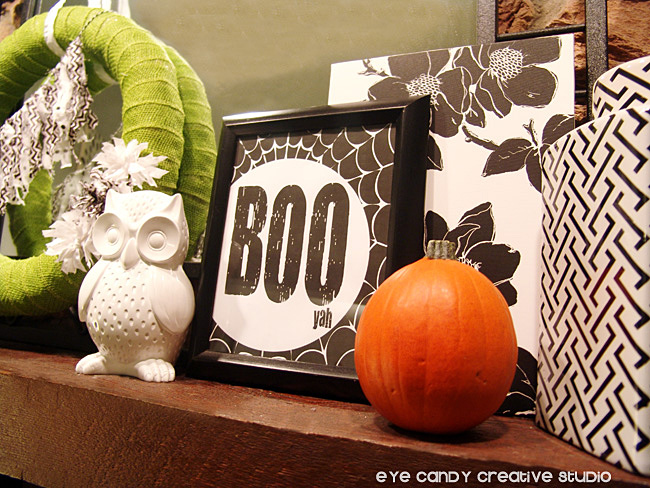 wreath, owl, boo art print, boo yah, spider web design, pumpkin, mantel