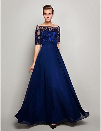 Vestido de Noche Azul Marino Oscuro de Tul y Gasa