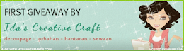 'FIRST GIVEAWAY BY IDA'S CREATIVE CRAFT'.