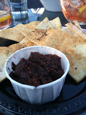 Kalamata and fig spread at Legal Harborside, Boston, Mass.