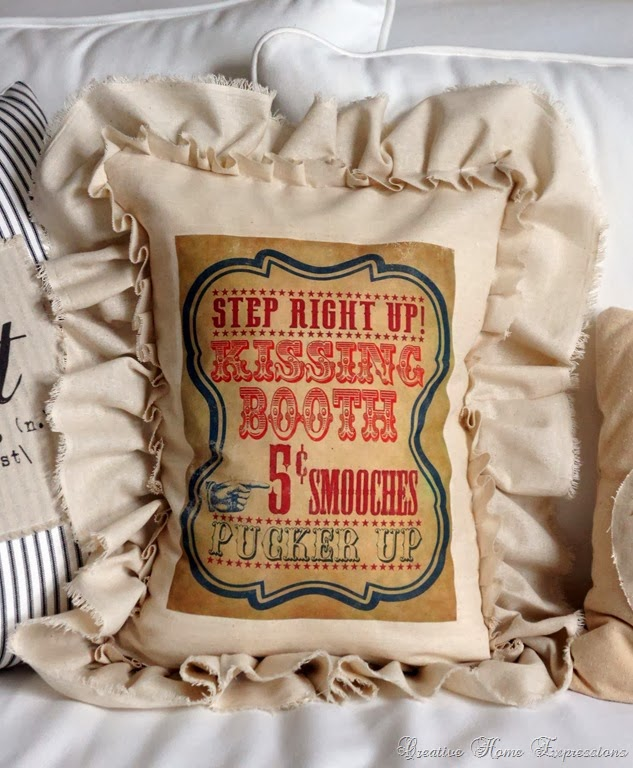 From My Front Porch To Yours- Treasure Hunt Thursday-Creative Home Expressions Kissing Booth Pillow