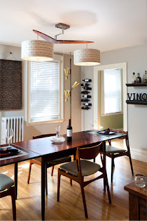 Appealing Drum Pendant Light above the Wooden Dining Room Tables And Chairs on the Hardwood Floor