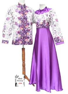 Model Baju Gamis Muslimah Batik Kombinasi Satin 2015