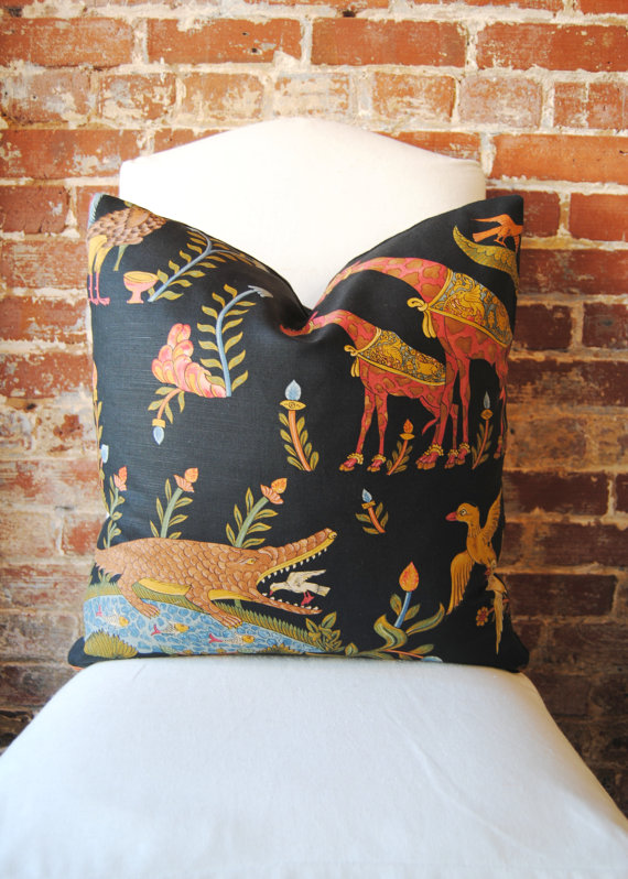 Aesthetic Oiseau Black Chinoiserie Pillows Via Etsy