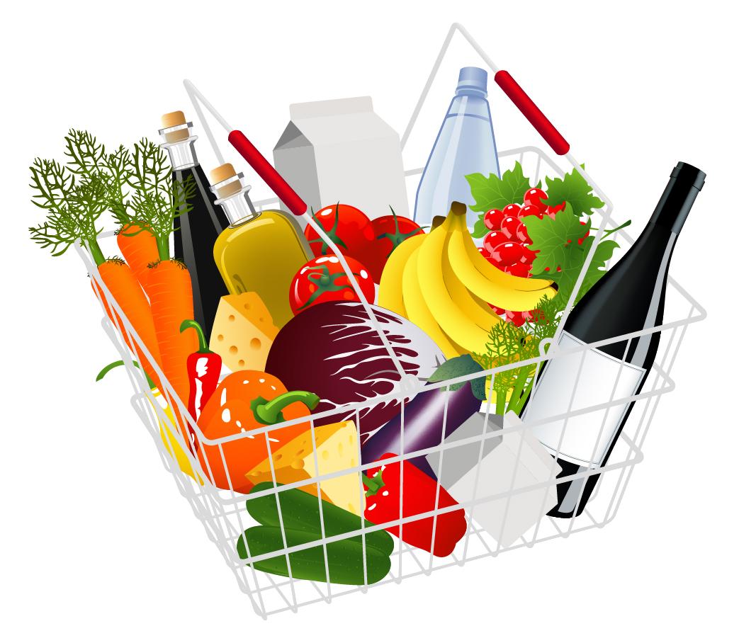 スーパーマーケット ポップ広告見本 supermarket shopping theme イラスト素材