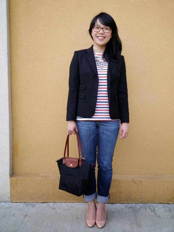 An outfit composed of basics: stripes, denim, black blazer, nude wedges, a black tote, and some sparkle