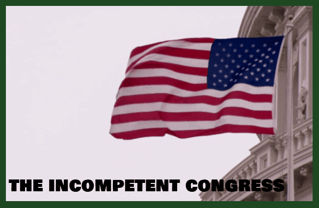 The American Flag and Capitol Dome  - the incompetent Congress