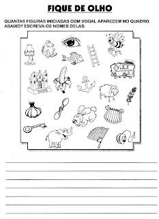 Atividades De Alfabetização - Escreva o nome das figuras que começam com vogais