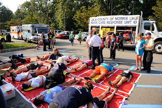 Mass casualty, active shooter drill participants are staged during the drill.