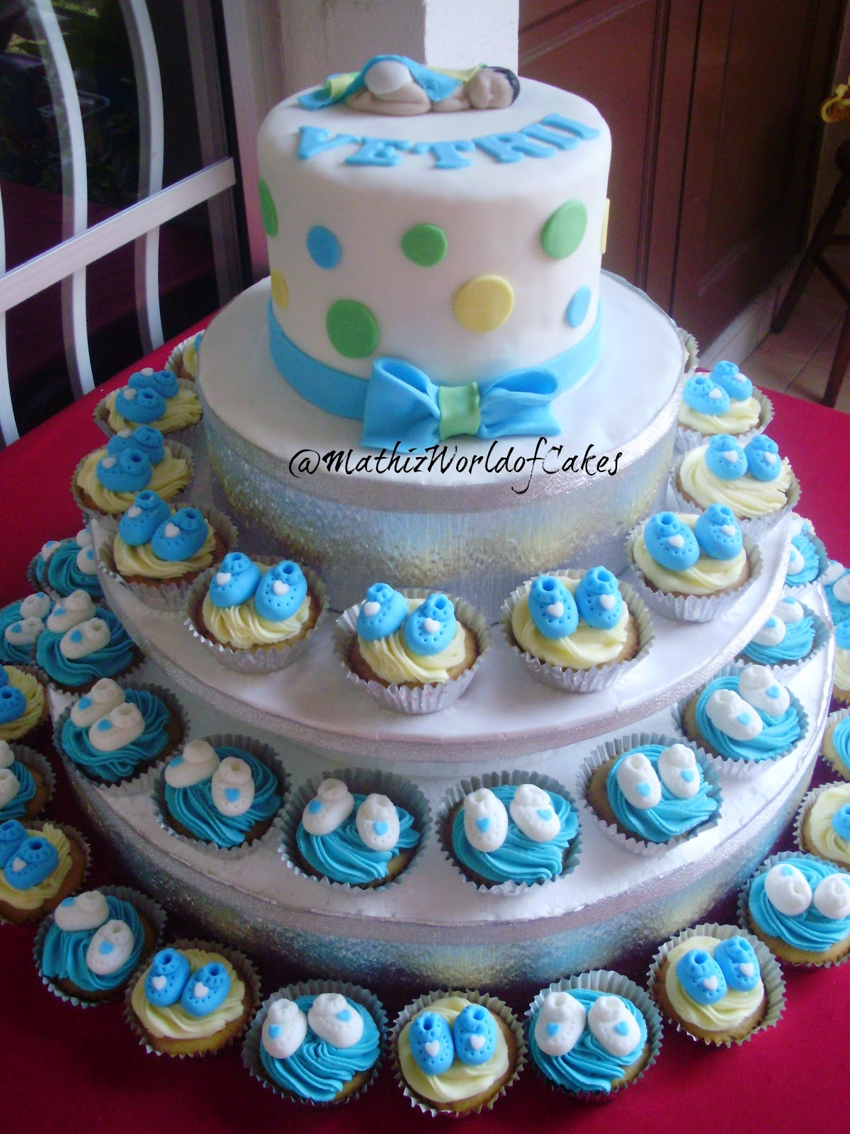 mathiz baby shower cake and cupcake tower