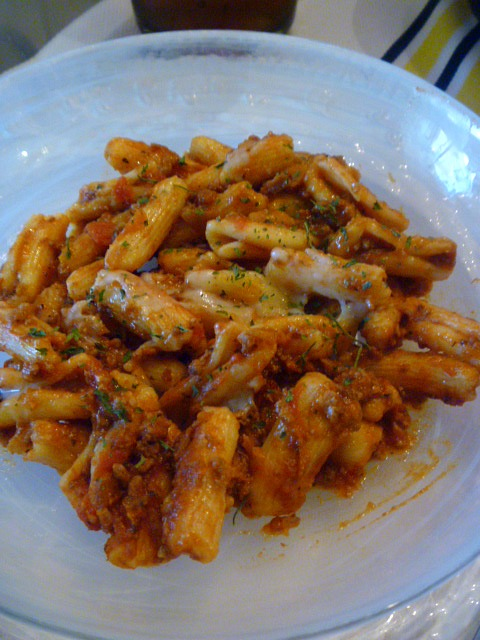 Slice of Southern: Quick Penne Pasta with Meat Sauce