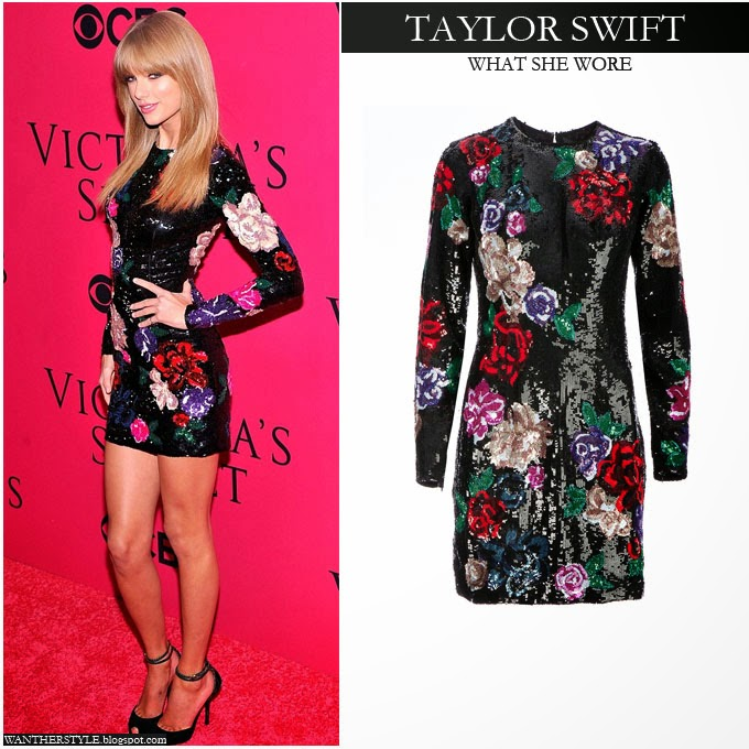 WHAT SHE WORE  Taylor Swift in black sequinned floral mini dress at ... de96587e0d7