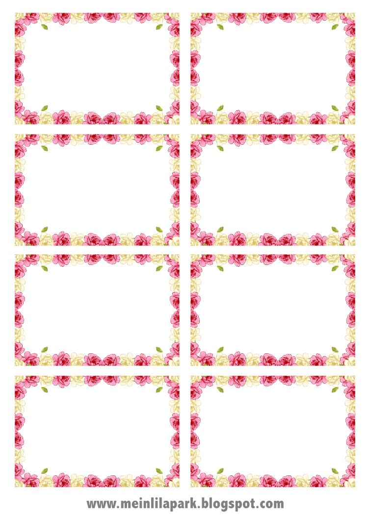 free digital rose frame png + printable tags - Rosenrehmen ...