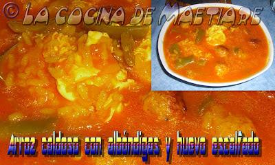 Arroz caldoso con albóndigas y huevo escalfado Arroz+caldoso+con+alb%C3%B3ndigas+y+huevo+escalfado