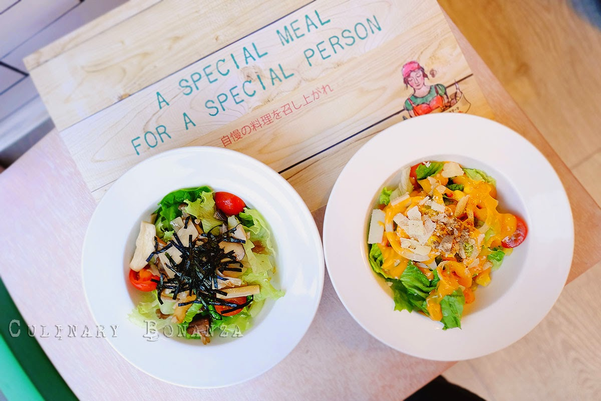Left: Japanese Mushroom Salad IDR 30,000 Right: Popolamama Salad IDR 26,000