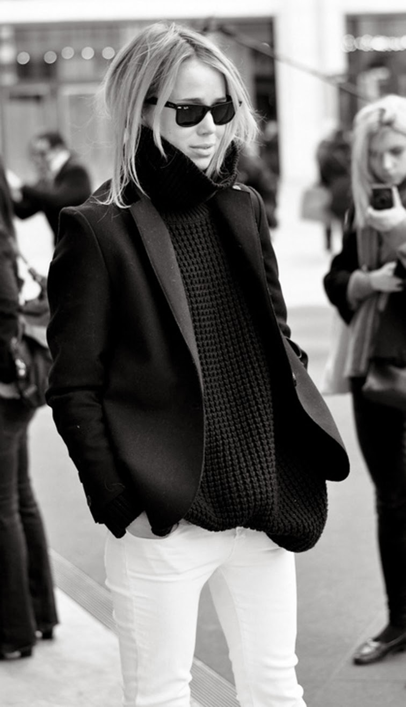 Elin Klin street style black turtle neck white denim