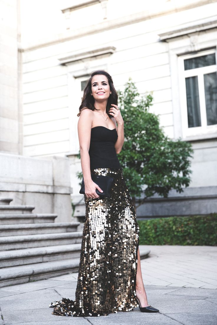 Fashion Inspiration Sparkle Sequin Maxi Skirt Cool Chic Style Fashion