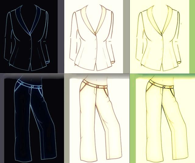Ein elegantes Anzugsmodell mit Schalkragen, Taille, langen Armen ohne Manschettenknöpfe ... in drei Farben.