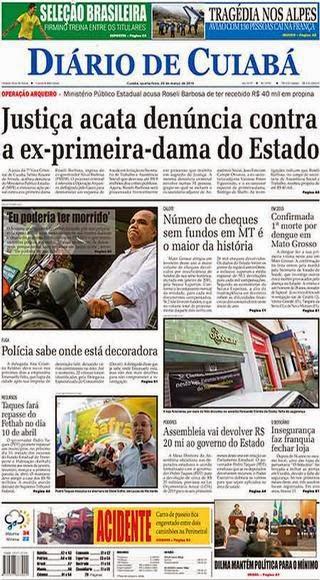 Capa Diário de Cuiabá-MT 25 de março 2015