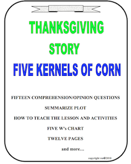 photo of Thanksgiving Five Kernels of Corn, PDF, Ruth S. TeachersPayTeachers. grades 3 - 6com
