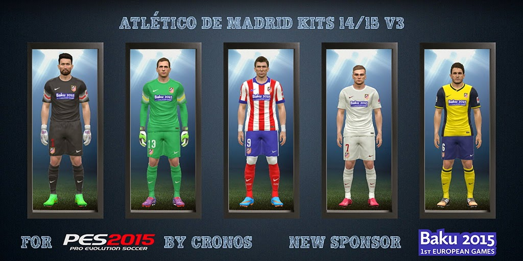PES 2015 Atlético de Madrid Kits 14/15 v3 by cRoNoS