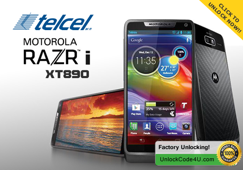 Factory Unlock Code for Motorola Razr i XT890 from Telcel Mexico