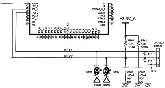 Hình 13 - Chân 26 và 27 của CPU kết nối đến các phím bấm