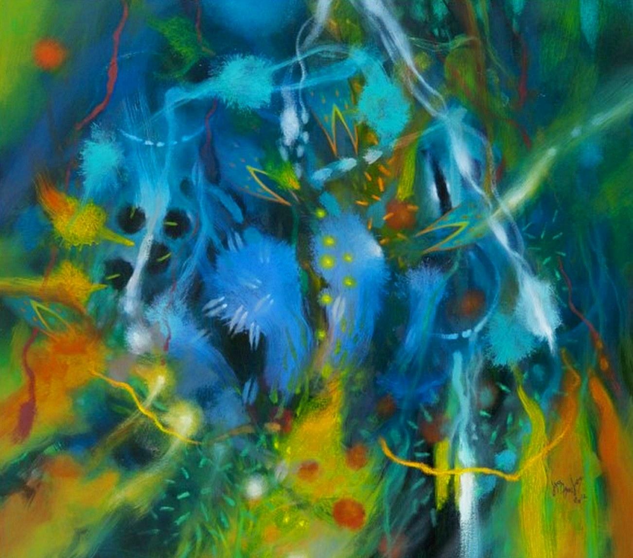 pintura abstracta de carlos jacanamijoy obras del colombia