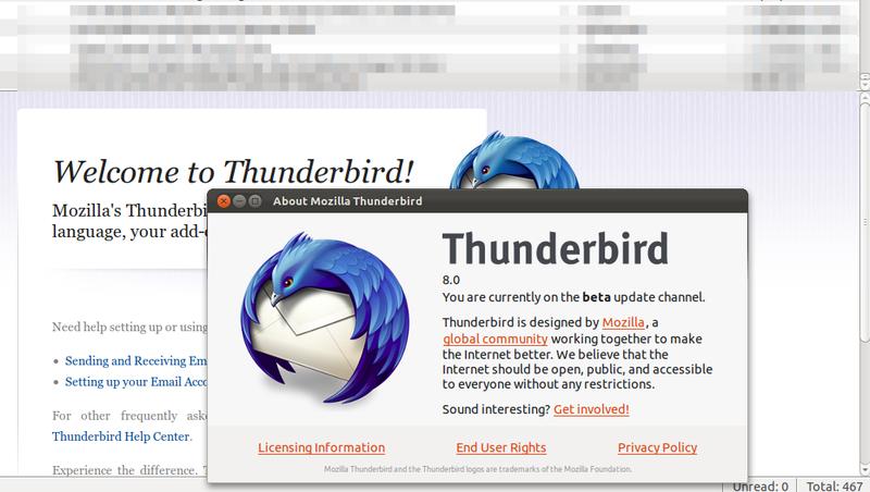 Mozilla Thunderbird 8 di Ubuntu 11.10 Oneiric Ocelot