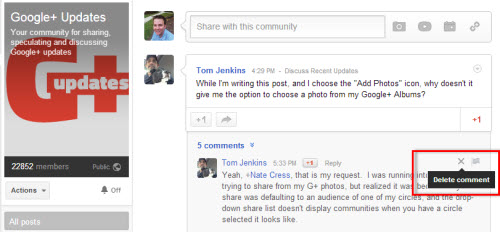 Delete Google Plus Community Comments