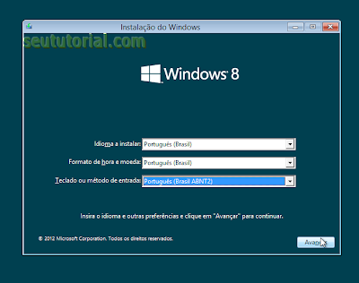 como instalar o windows 8