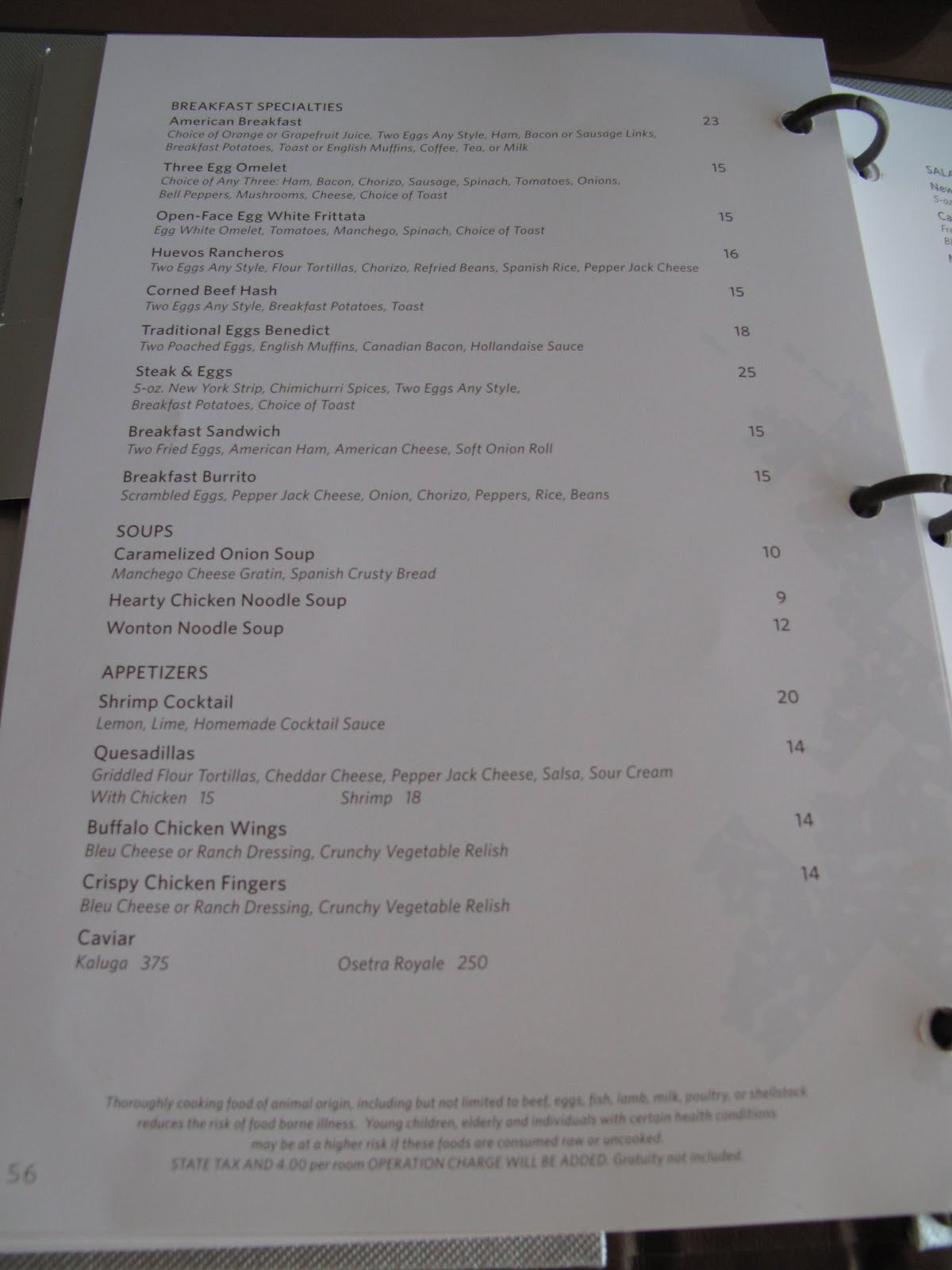 Perfect ARIA ROOM SERVICE MENU Part 2