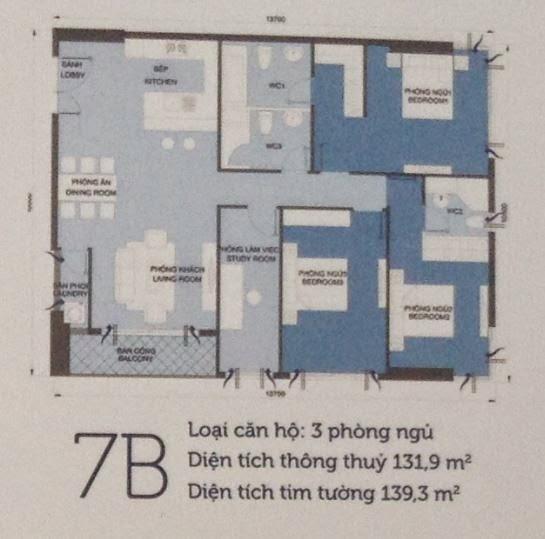 Căn hộ Vinhomes Central Park 6 - căn hộ số 7B - 139.3m2 - 3PN