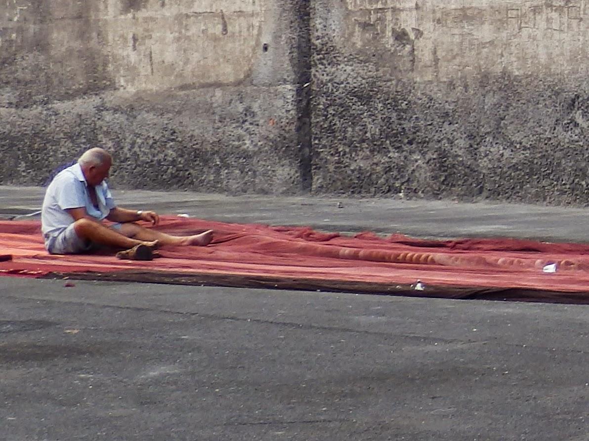 Mending fishing nets Tenerife