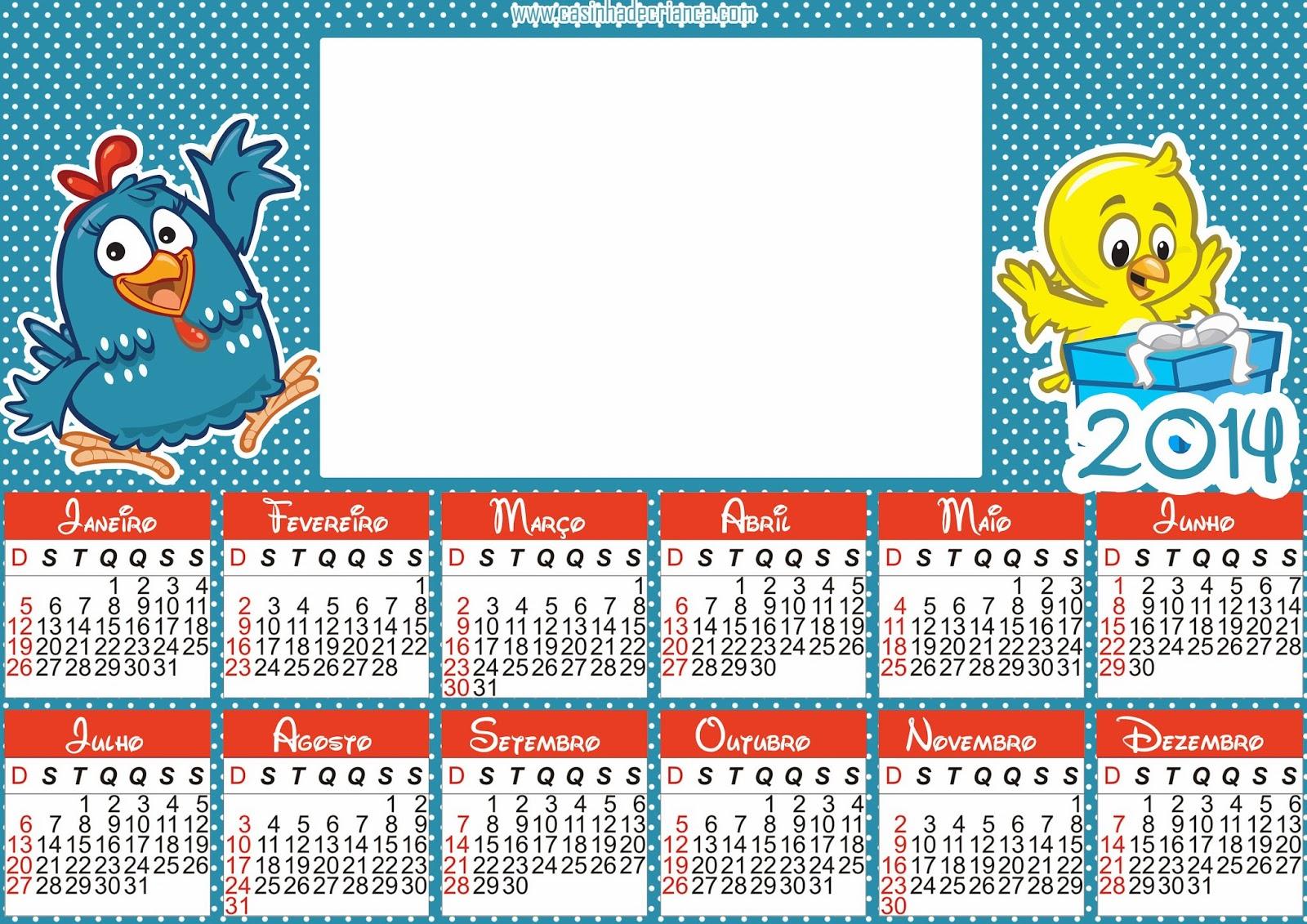 calendário galinha pintadinha 2014