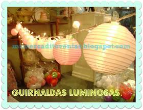 GUIRNALDAS DE FAROLITOS CON LUZ CÁLIDA - ARAÑAS - LAMPARAS - VELADORES - APLIQUES