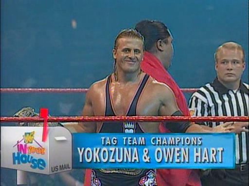 WWF / WWE - In Your House 1 - Owen Hart teamed with Yokozuna to successfully defend the WWF Tag Team titles against the Smoking Gunns