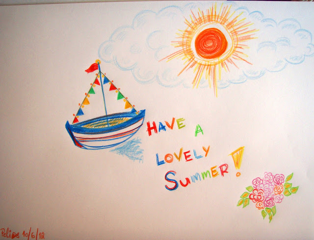 summer time coloured pencil drawing