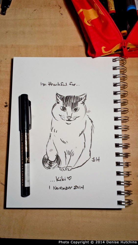 Ink Sketch of Smiling American Shorthair