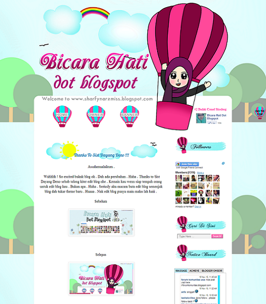 Tempahan : Full Blog Edit & Design Bicara Hati